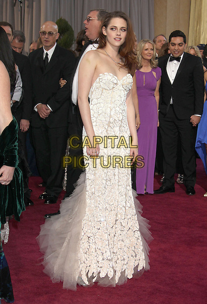 Kristen Stewart (wearing Reem Acra).85th Annual Academy Awards held at the Dolby Theatre at Hollywood & Highland Center, Hollywood, California, USA..February 24th, 2013.oscars full length white strapless dress sheer tulle detail lace  .CAP/ADM/RE.©Russ Elliot/AdMedia/Capital Pictures.