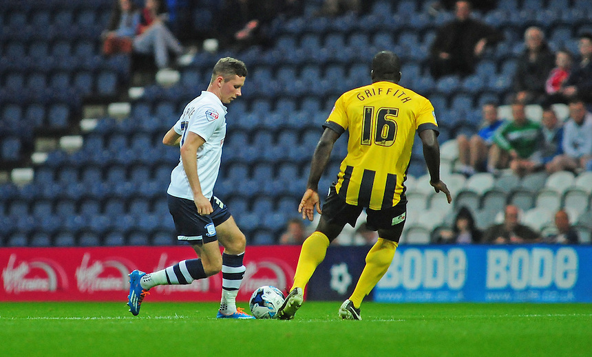 Preston North End's Alan Browne vies for possession with Shrewsbury Town&rsquo;s Anthony Griffith<br /> <br /> Photographer Chris Vaughan/CameraSport<br /> <br /> Johnstone's Paint Northern Area First Round - Preston North End v Shrewsbury Town - Tuesday 2nd September 2014 - Deepdale - Preston<br />  <br /> &copy; CameraSport - 43 Linden Ave. Countesthorpe. Leicester. England. LE8 5PG - Tel: +44 (0) 116 277 4147 - admin@camerasport.com - www.camerasport.com