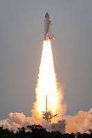 Space shuttle Atlantis blasts off for final flight, Kennedy Space Center, Cape Canaveral, Florida, USa. Photo by Debi Pittman Wilkey