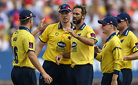 Birmingham Bears' Grant Elliott celebrates with his teammates after taking the wicket of Glamorgan's Chris Cooke<br /> <br /> Photographer Andrew Kearns/CameraSport<br /> <br /> NatWest T20 Blast Semi-Final - Birmingham Bears v Glamorgan - Saturday 2nd September 2017 - Edgbaston, Birmingham<br /> <br /> World Copyright &copy; 2017 CameraSport. All rights reserved. 43 Linden Ave. Countesthorpe. Leicester. England. LE8 5PG - Tel: +44 (0) 116 277 4147 - admin@camerasport.com - www.camerasport.com