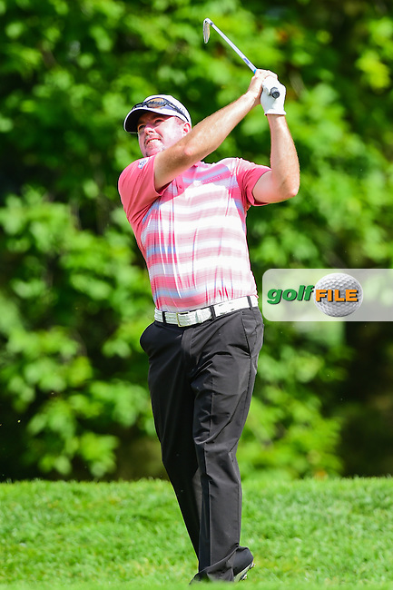 Robert Garrigus (USA) watches his tee shot on 10 during round 2 of the 2016 Quicken Loans National, Congressional Country Club, Bethesda, Maryland, USA. 6/24/2016.<br /> Picture: Golffile   Ken Murray<br /> <br /> <br /> All photo usage must carry mandatory copyright credit (&copy; Golffile   Ken Murray)