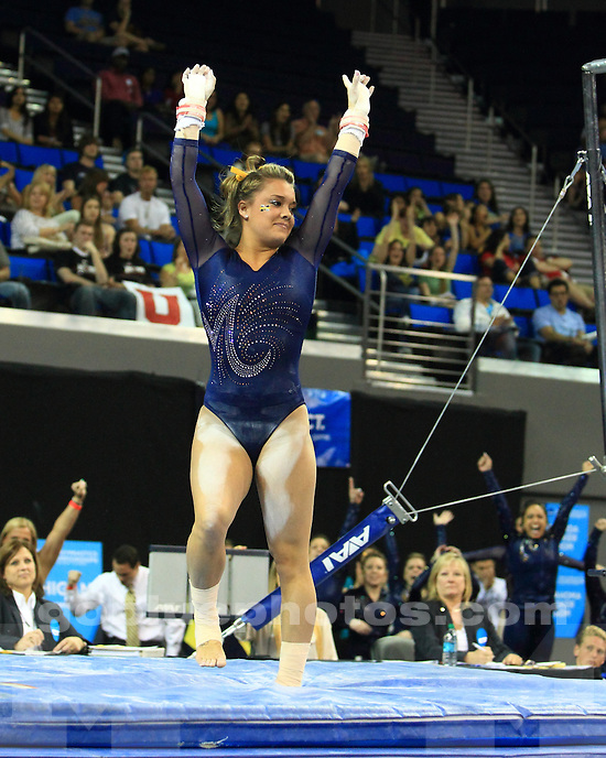 The University of Michigan women's gymnastics team finished 4th of 6 teams (196.850 points) at the NCAA Championship Semifinals at Pauley Pavilion in Los Angeles, Calif., on April 19, 2013.