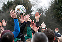 13/02/18<br /> <br /> Players freach for the ball at at the start of the Royal Shrovetide Football match played in the streets of Ashbourne, Derbyshire. The Up'ards play against the Down'ards over two days and try to goal balls in goals that are three miles apart.<br /> <br /> All Rights Reserved F Stop Press Ltd. +44 (0)1335 344240 +44 (0)7765 242650  www.fstoppress.com