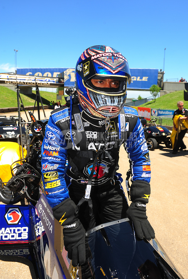 May 22, 2011; Topeka, KS, USA: NHRA top fuel dragster driver Antron Brown during the Summer Nationals at Heartland Park Topeka. Mandatory Credit: Mark J. Rebilas-
