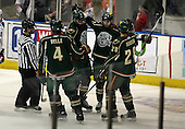 February 24th 2008:  Marco Rosa (21) of the Houston Aeros is congratulated by Shawn Belle (4), Joel Ward (22), and Brandon Rogers (28) after a goal vs. the Rochester Amerks at Blue Cross Arena at the War Memorial in Rochester, NY.  The Aeros defeated the Amerks 4-0.   Photo copyright Mike Janes Photography 2008