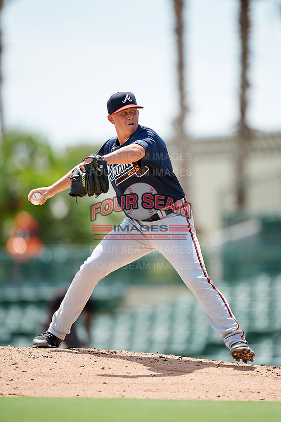 Atlanta Braves pitcher Devan Watts (36) delivers a pitch during an Instructional League game against the Baltimore Orioles on September 25, 2017 at Ed Smith Stadium in Sarasota, Florida.  (Mike Janes/Four Seam Images)