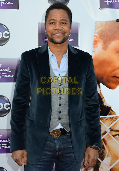 "Cuba Gooding Jr..Disney ABC Television & The Hallmark Hall of Fame ""Firelight"" Premiere held at Fox Studios, Culver City, California, USA..April 17th, 2012.half length black blue velvet jacket waistcoat jeans denim stubble facial hair  grey gray.CAP/ADM/BT.©Birdie Thompson/AdMedia/Capital Pictures."