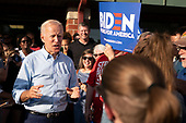 2020 Democratic Presidential candidate Joe Biden surveys the rope line as he greets supporters as his newly opened campaign office in Iowa City, Iowa on Wednesday, August 7, 2019. Biden is kicking off a 4 day tour of Iowa. Credit: Alex Edelman / CNP