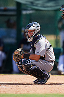 Detroit Tigers catcher Brady Policelli (71) checks the runner during an Instructional League game against the Atlanta Braves on October 10, 2017 at the ESPN Wide World of Sports Complex in Orlando, Florida.  (Mike Janes/Four Seam Images)