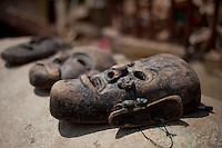 Masks at the Shoyembho temple, just outside Kathmandu, Nepal