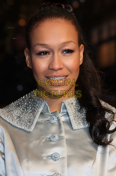 "REBECCA FERGUSON .Attending The Royal Film Performance 2010: The World Premiere of ""Chronicles of Narnia: The Voyage of the Dawn Treader"" at the Odeon, Leicester Square, London, England, .November 30th 2010..portrait headshot hair up make-up beauty mouth open beaded  silver coat x factor collar silk satin .CAP/ROS.©Steve Ross/Capital Pictures"