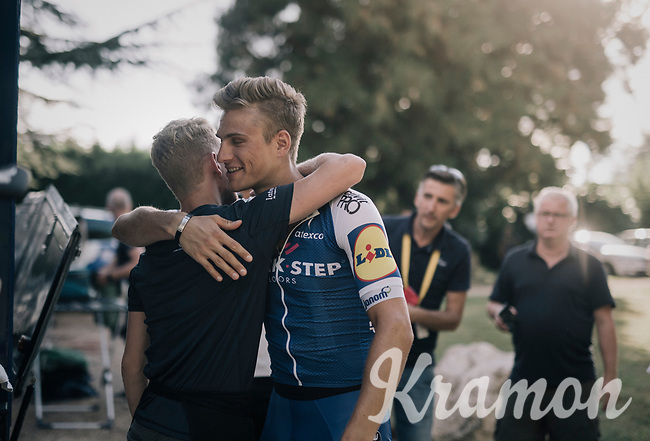 Marcel Kittel (DEU/QuickStep Floors) celebrating his 4th victory in 10 stages with the team staff upon his return at the team hotel<br /> <br /> 104th Tour de France 2017<br /> Stage 10 - P&eacute;rigueux &rsaquo; Bergerac (178km)