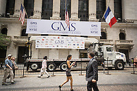 The New York Stock Exchange is decorated for Gypsum Management & Supply (GMS) on Monday, July 18, 2016.   (© Richard B. Levine)