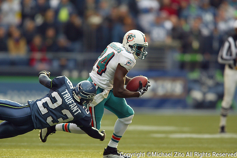 Chris Chambers In a NFL  game played at Quest Field between the Miami Dolphins and the Seattle Seahawks