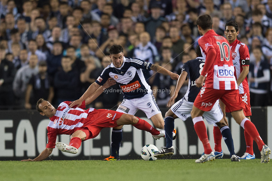 MELBOURNE - 5 October:  Round one of the 2012 A-League between Melbourne Victory and Melbourne Heart at Etihad Stadium. (Photo by Sydney Low/syd-low.com/@gomvfc)