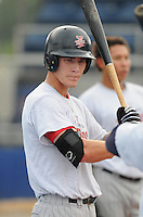 July 15, 2009: Outfielder Chris Hermann (4) of the Elizabethton Twins, rookie Appalachian League affiliate of the Minnesota Twins, before a game at Dan Daniel Memorial Park in Danville, Va. Photo by:  Tom Priddy/Four Seam Images