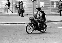 Roma   1985  .Due Ragazzi su un  motorino Beta.Rome 1985  .Two Boys on a moped Beta