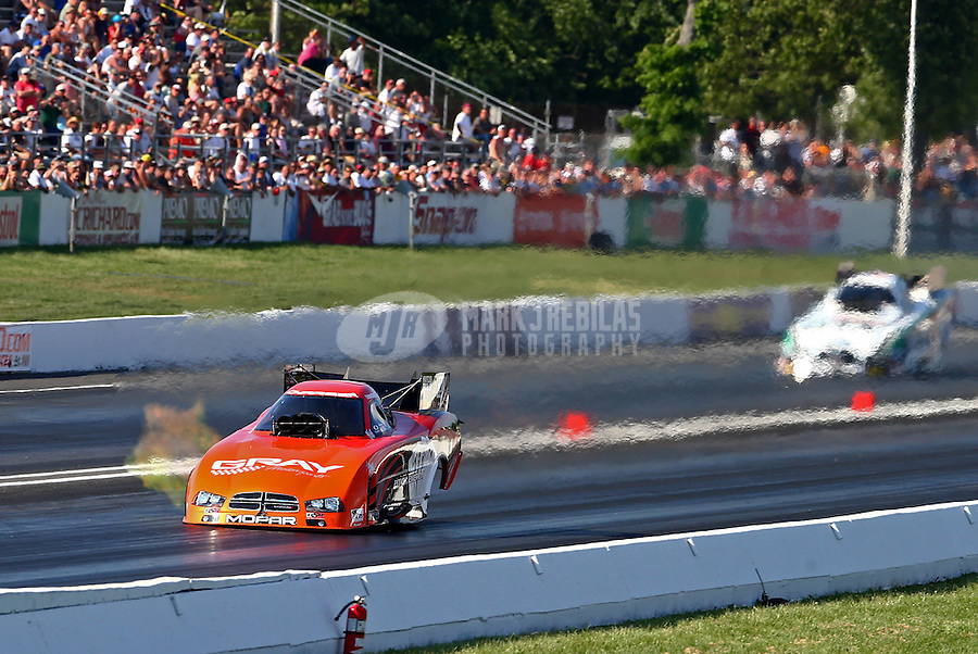 Jun. 1, 2013; Englishtown, NJ, USA: NHRA funny car driver Johnny Gray during qualifying for the Summer Nationals at Raceway Park. Mandatory Credit: Mark J. Rebilas-