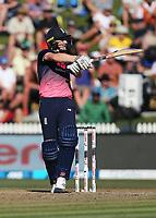 England's Chris Woakes batting. New Zealand Blackcaps v England. One Day International Cricket. Seddon Park, Hamilton, New Zealand on Sunday 25 February 2018.<br /> <br /> Copyright photo: &copy; Bruce Lim / www.photosport.nz