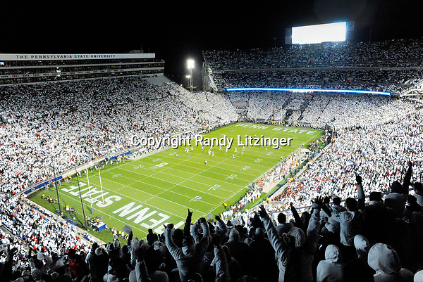 Penn State fans in the upper level cheer during the10th ever whole stadium white out. The Penn State Nittany Lions upset the #2 ranked Ohio State Buckeyes 24-21 at Beaver Stadium in State College, PA.
