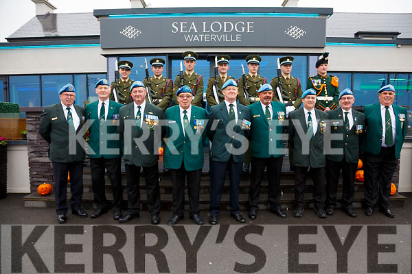 Pictured at the Plaque unveiling to Commandant Pat Quinlan at the Sea Lodge in Waterville on Saturday were front Post 32 Kerry l-r; John Relihan, Tony Marshall, Alan Hannifin, Tony Carroll, Donal Downing, Jim Flaherty, Johnny O'Connor, Joe Relihan, Tadhg O'Sullivan, back 12th Battalion Limerick l-r; Ryan Day, Colm Kelly, Harley Moloney, Donnacha Costello, James Meany, Rob Noonan & Paudie Bourke.