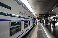 Roma, 5 aprile 2012.Trenitalia presenta i nuovi treni per i pendolari.Vivalto. Ferrovieri