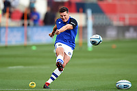 Freddie Burns of Bath Rugby kicks for the posts during the pre-match warm-up. Gallagher Premiership match, between Bristol Bears and Bath Rugby on August 31, 2018 at Ashton Gate Stadium in Bristol, England. Photo by: Patrick Khachfe / Onside Images