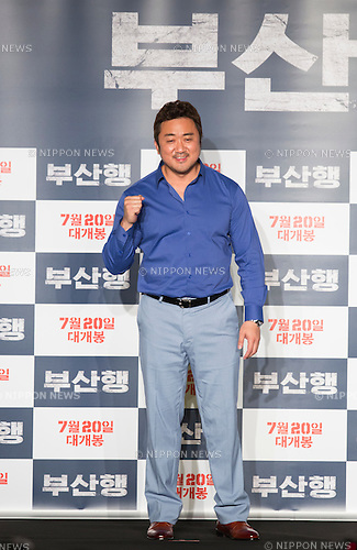 "Ma Dong-Seok, June 21, 2016 : South Korean actor Ma Dong-Seok attends a press conference for his new movie,""Train to Busan"" in Seoul, South Korea. The zombie-action movie was filmed by recognized animator, Yeon Sang-ho and was premiered at Cannes Film Festival in the out of competition ""Midnight Screenings"" category this year. (Photo by Lee Jae-Won/AFLO) (SOUTH KOREA)"