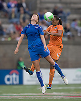 Boston Breakers defender Jordan Angeli (4) and Sky Blue FC midfielder Rosana (11) battle for head ball. Sky Blue FC defeated the Boston Breakers, 2-1, at Harvard Stadium on June 13, 2010.