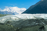 Hiking to the root glacier, mount Blackburn, kennicottt, Wrangell St. Elias National Park, Alaska.