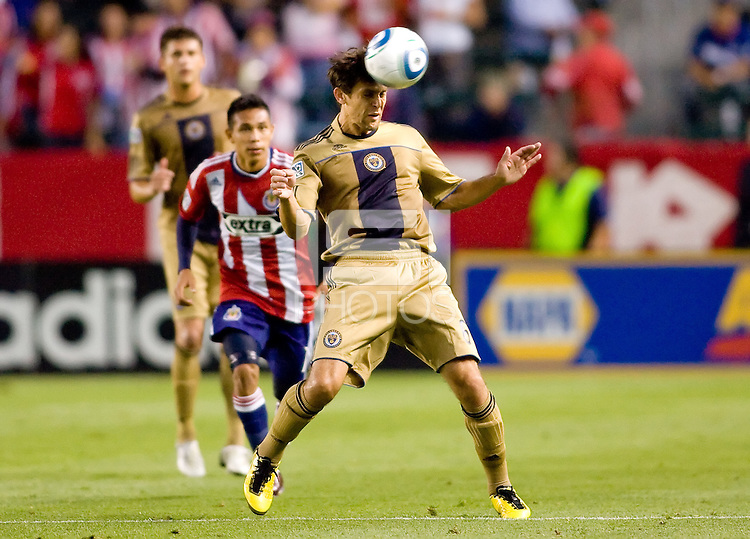 Philadelphia Union midfielder Stefani Miglioranzi (6) heads a ball from the box. The Philadelphia Union and CD Chivas USA played to 1-1 draw at Home Depot Center stadium in Carson, California on Saturday evening July 3, 2010..