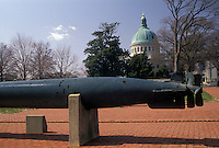AJ3320, U.S. Naval Academy, Navy, Annapolis, Maryland, Torpedo displayed on the campus of the United States Naval Academy in the capital city of Annapolis in the state of Maryland.
