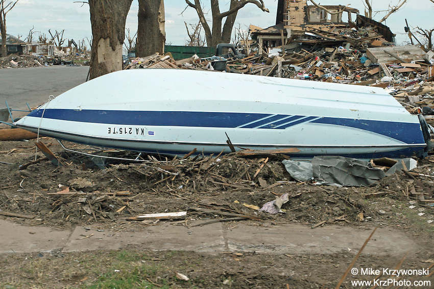 Boat lying upside down among F5 tornado damage in Greensburg, KS, May, 2007