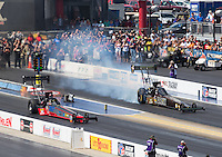 Sep 18, 2016; Concord, NC, USA; NHRA top fuel driver Cameron Ferre (left) defeats Tony Schumacher for his first career round victory as a professional during the Carolina Nationals at zMax Dragway. Mandatory Credit: Mark J. Rebilas-USA TODAY Sports