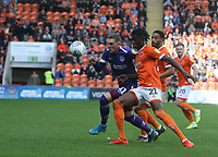 Blackpool's Armand Gnanduillet and Portsmouth's Ronan Curtis<br /> <br /> Photographer Stephen White/CameraSport<br /> <br /> The EFL Sky Bet League One - Blackpool v Portsmouth - Saturday 31st August 2019 - Bloomfield Road - Blackpool<br /> <br /> World Copyright © 2019 CameraSport. All rights reserved. 43 Linden Ave. Countesthorpe. Leicester. England. LE8 5PG - Tel: +44 (0) 116 277 4147 - admin@camerasport.com - www.camerasport.com