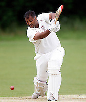 Sanjay Patel bats for Hornsey during the Middlesex County Cricket League Division Three game between Hornsey and Wembley at Tivoli Road, Crouch End, London on Sat May 29, 2010
