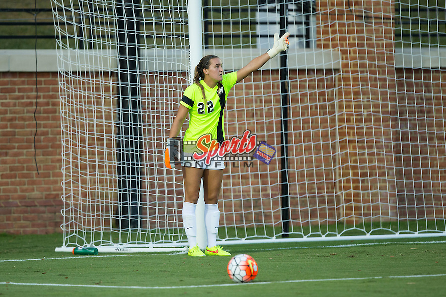 Nonie Frishette (22) of the Wake Forest Demon Deacons prepares to take a goal kick during first half action against the UCLA Bruins at Spry Soccer Stadium on September 11, 2015 in Winston-Salem, North Carolina.  The Bruins defeated the Demon Deacons 2-1.  (Brian Westerholt/Sports On Film)