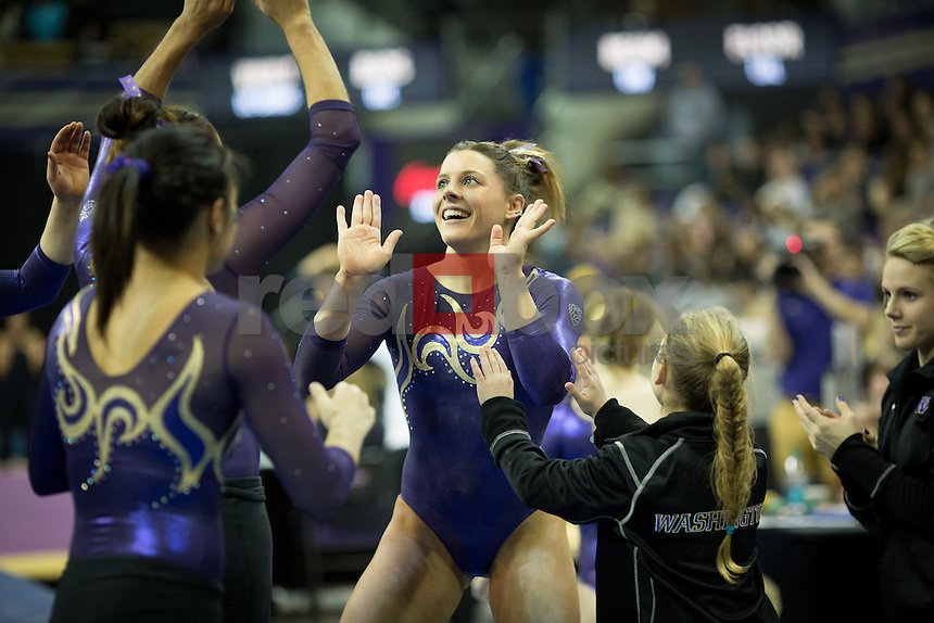 The University of Washington gymnastics team won a four team match against the University of California-Berkley, UC Davis and University of Illinois-Chicago at the Alaska Airlines Arena on January 18, 2013. (Photo by Scott Eklund /Red Box Pictures)