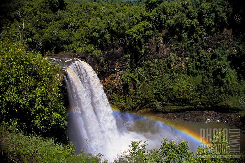 Wailua falls with rainbow, Kauai