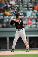 Second baseman Ryne Ogren (4) of the Delmarva Shorebirds bats in a game against the Greenville Drive on Friday, August 2, 2019, at Fluor Field at the West End in Greenville, South Carolina. The game was suspended in the second inning and will not be made up. (Tom Priddy/Four Seam Images)