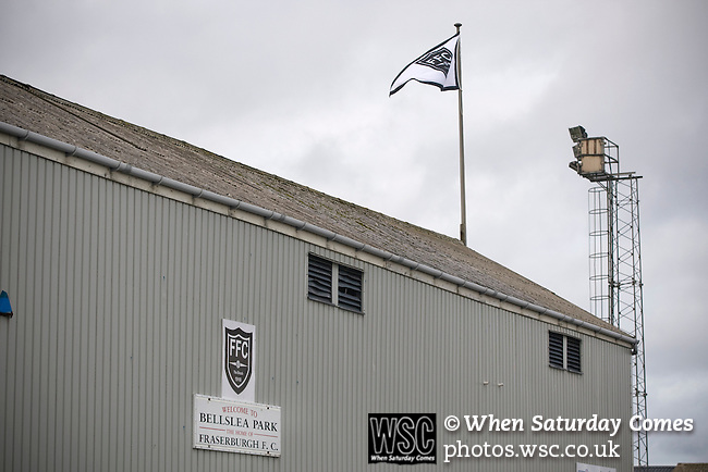 The back of the main stand with club sign and floodlights at Bellslea Park, home of Fraserburgh FC, prior to the club's Highland League fixture against visitors Strathspey Thistle. Nicknamed 'The Broch,' Fraserburgh have been members of the Highland League since 1921 having been formed 11 years earlier. The match ended in a 2-2 draw in front of a crowd of 302.
