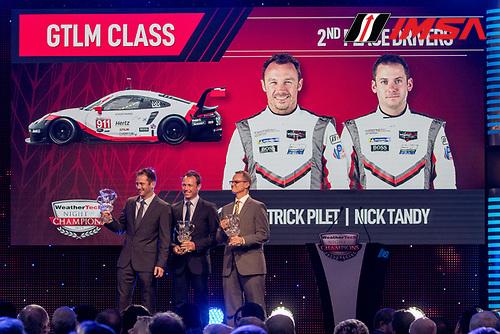 #911 Porsche GT Team Porsche 911 RSR, GTLM: Patrick Pilet, Nick Tandy, Jon Bennett, IMSA WeatherTech Awards Banquet, Chateau Elan, Braselton, GA, October 2019.