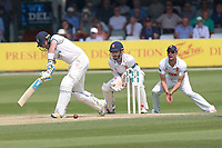 Ian Bell in batting action for Warwickshire as James Foster looks on from behind the stumps during Essex CCC vs Warwickshire CCC, Specsavers County Championship Division 1 Cricket at The Cloudfm County Ground on 21st June 2017