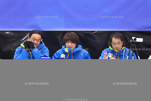 (L-R)  Kenji Ogawa, Kazuki Yoshikawa,  Hitoshi Yanagi (JPN), <br /> FEBRUARY 10, 2015 - Curling : <br /> 27th Winter Universiade Granada 2015 <br /> between Japan Men's and Russia Men's <br /> at Fuentenueva Pavilion, Granada, Spain. <br /> (Photo by AFLO SPORT) [1220]