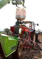 Drilling Access winter wheat on H. D. and R. D. Powell's Lower Newton Farm, Weobley, Herefordshire. The 2000 acres of wheat grown will be fed back to the poultry enterprise which produces 1 million broilers per year.
