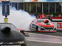 Apr 24, 2015; Baytown, TX, USA; NHRA  pro stock driver V. Gaines during qualifying for the Spring Nationals at Royal Purple Raceway. Mandatory Credit: Mark J. Rebilas-