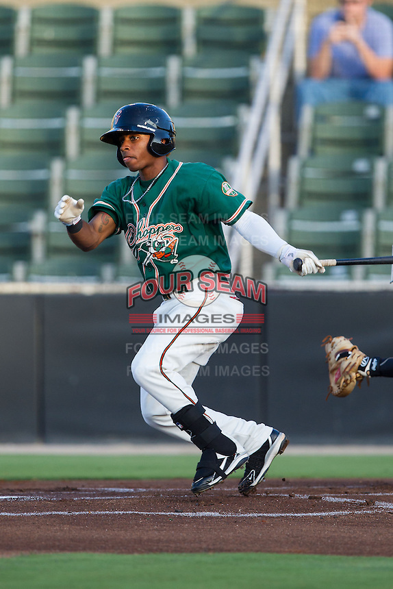 Mason Davis (20) of the Greensboro Grasshoppers follows through on his swing against the Kannapolis Intimidators at CMC-NorthEast Stadium on August 30, 2014 in Kannapolis, North Carolina.  The Intimidators defeated the Grasshoppers 3-1.  (Brian Westerholt/Four Seam Images)
