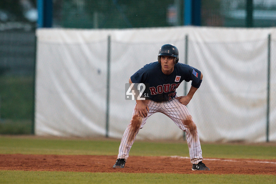 06 June 2010: Boris Marche of Rouen is seen on offense during the 2010 Baseball European Cup match won 10-8 by the Rouen Huskies over AVG Draci Brno, at the AVG Arena, in Brno, Czech Republic.