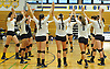 Massapequa varsity girls' volleyball teammates celebrate after their victory over Plainview JFK in a a Nassau County varsity girls' volleyball match at Massapequa High School on Wednesday, September 9, 2015. Massapequa rallied from a 19-10 deficit in the first set to win 25-21, 25-14, 25-16.<br /> <br /> James Escher