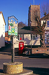 A08AX0 Framlingham town sign and church from market square Suffolk England